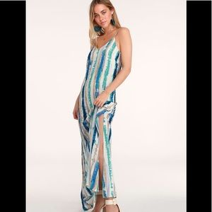 Bay Side Babe Cream and Blue Tie-Dye Maxi Dress
